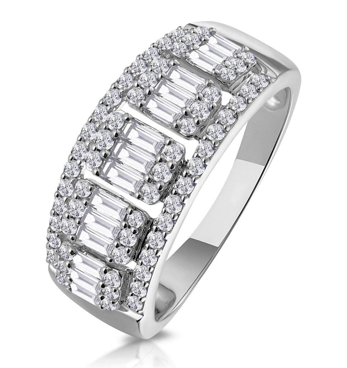 0.85ct Diamond Asteria Baguette Eternity Ring in 18K White Gold