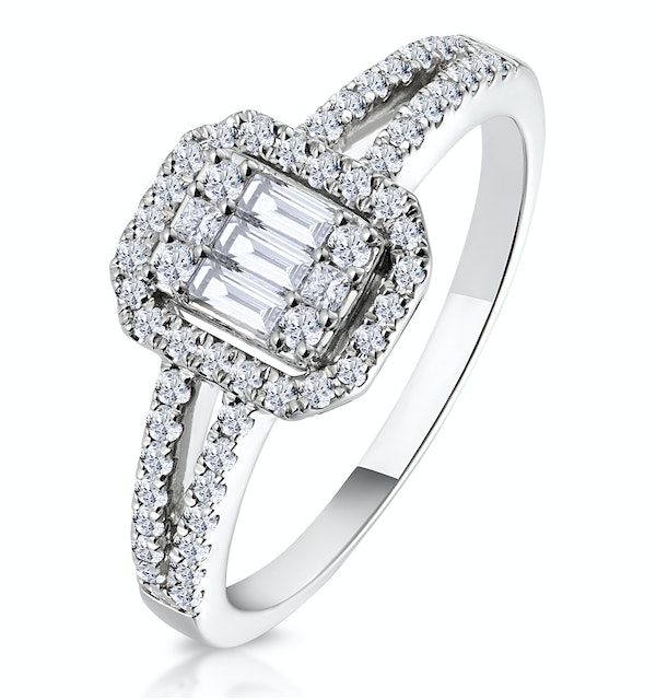 0.50ct Halo Baguette Diamond Ring Asteria Collection in 18K White Gold - image 1