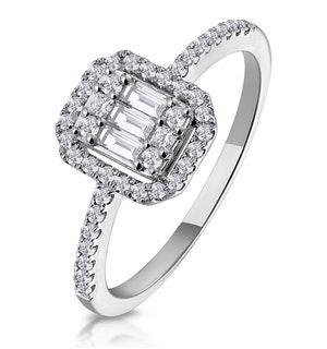 0.40CT HALO BAGUETTE DIAMOND ASTERIA RING IN 18K WHITE GOLD