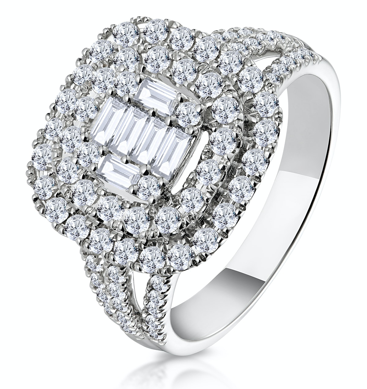 1.25ct Asteria Collection Double Halo Diamond Ring in 18K White Gold