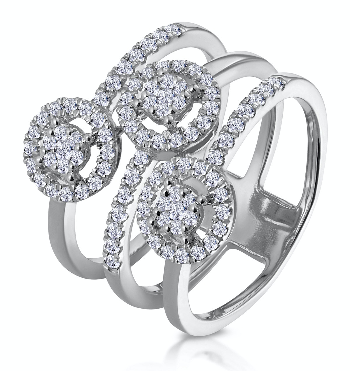0.55ct Asteria Collection Wide Diamond Halo Ring in 18K White Gold