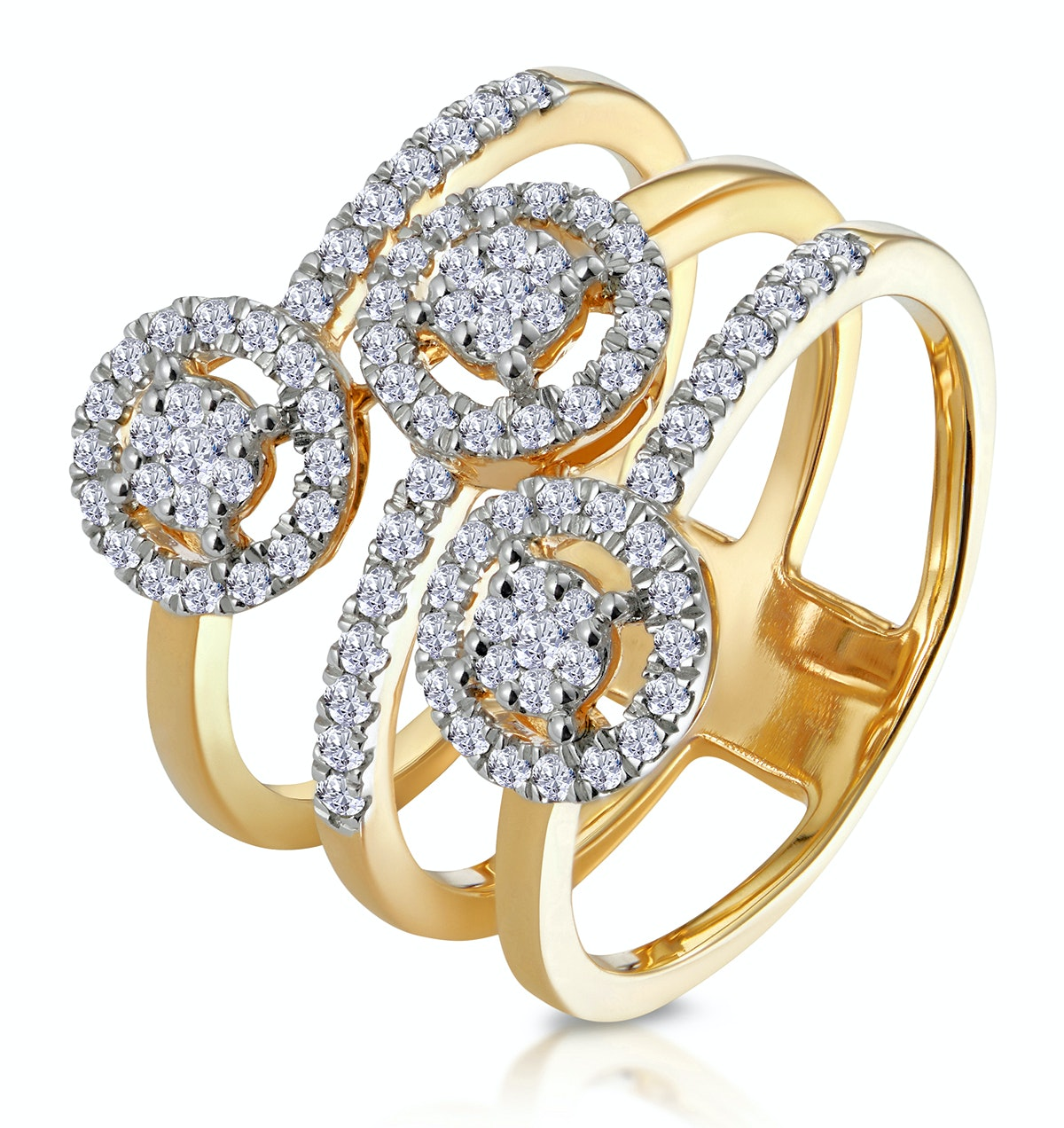 0.55ct Asteria Collection Wide Diamond Halo Ring in 18K Gold