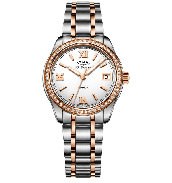 Rotary Les Originales Legacy Two Tone Rose Ladies Quartz Watch - image 1
