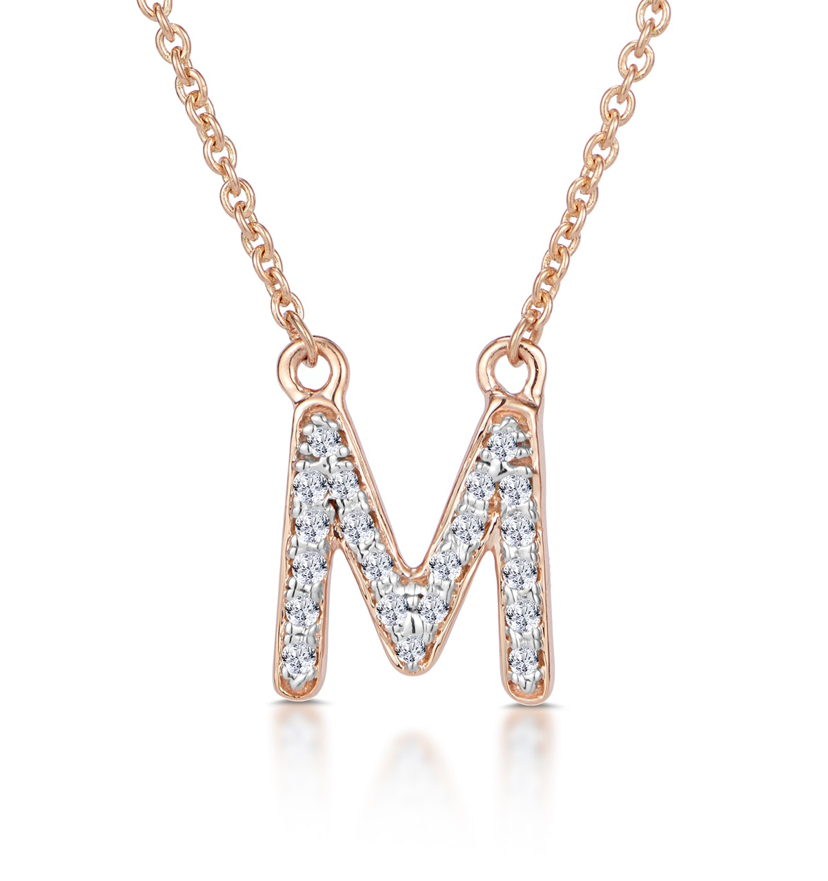 Initial 'M' Necklace Diamond Encrusted Pave Set in 9K Rose Gold