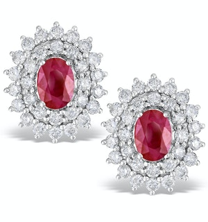 RUBY 0.90CT AND DIAMOND 9K WHITE GOLD EARRINGS