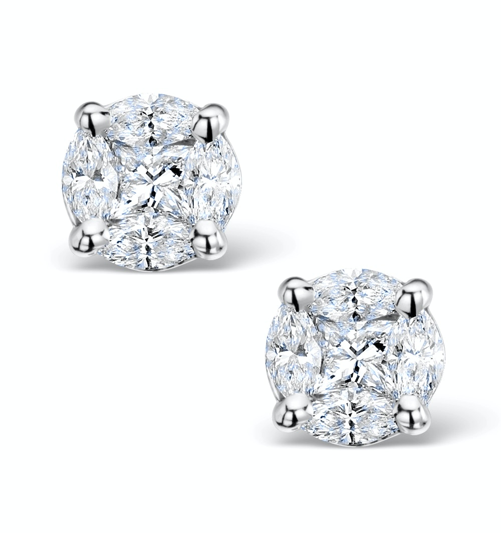 Diamond Earrings 2.00ct Look Galileo Style 0.74ct in Platinum