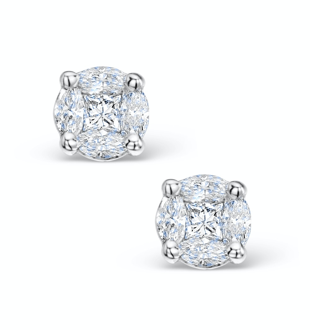 Diamond Earrings 1.00ct Look Galileo Style - 0.30ct in 18K White Gold