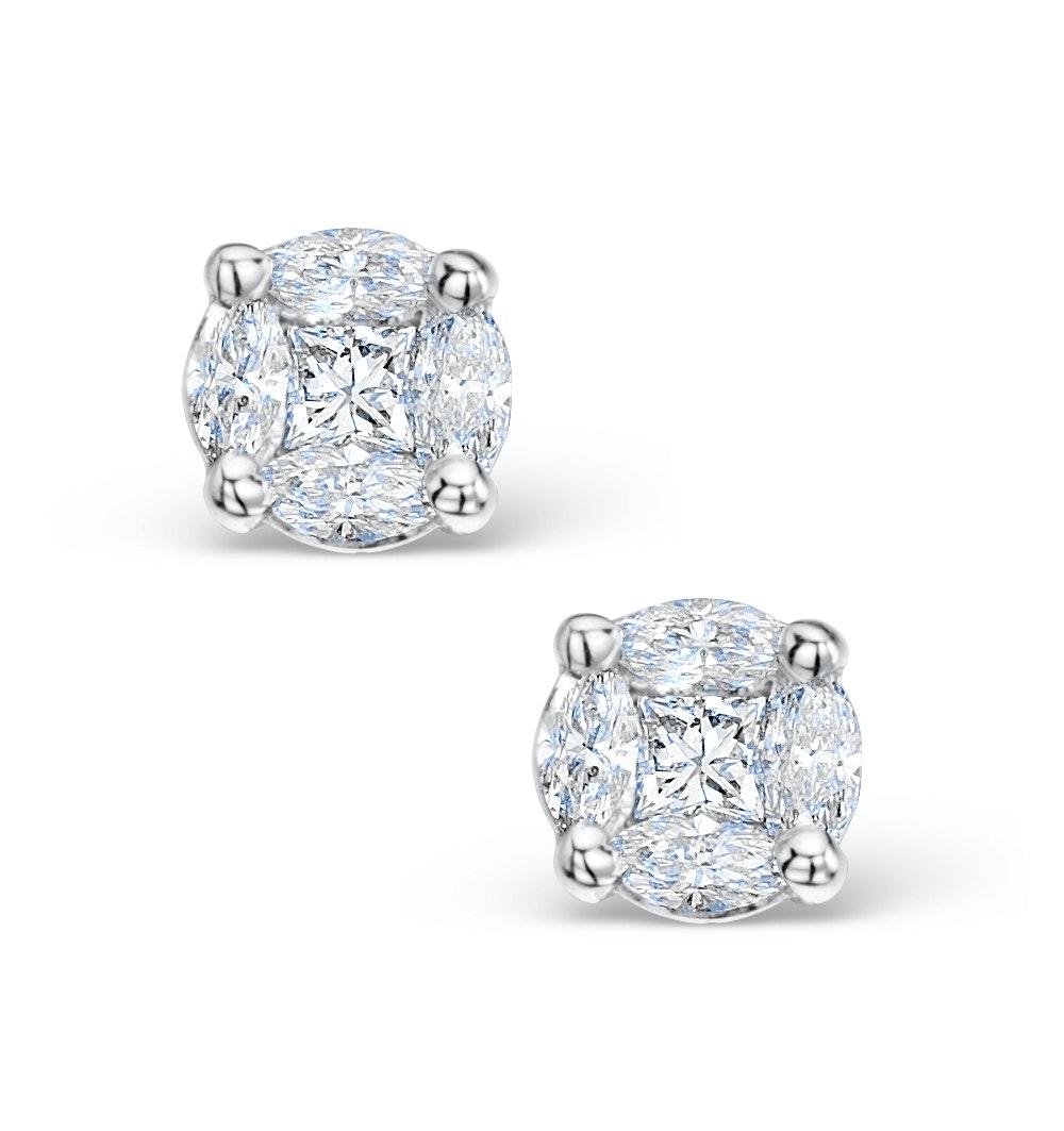 Diamond Earrings 1.00ct Look Galileo Style - 0.30ct in Platinum