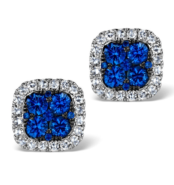18K White Gold KEIRA 3ct Sapphire and 1ct Diamond HALO Earrings