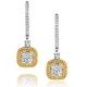 18K White Gold Lucia 1.90ct Diamond and Yellow Diamond Halo Earrings - image 1