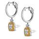 18K White Gold Lucia 1.90ct Diamond and Yellow Diamond Halo Earrings - image 2