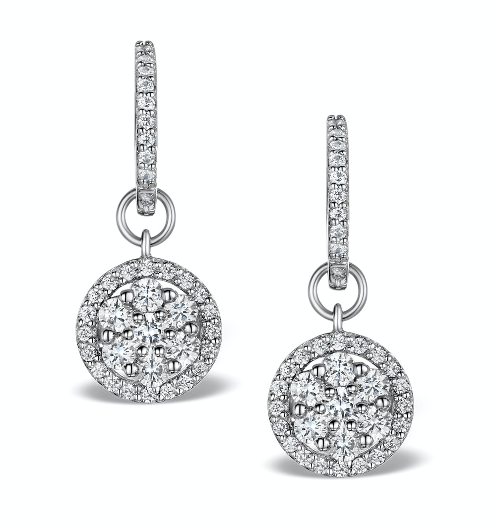 Halo Diamond Drop Earrings - Florence - 1.50ct - in 18K White Gold