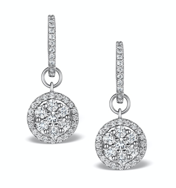 Halo Diamond Drop Earrings - Florence - 1.50ct - in 18K White Gold - image 1
