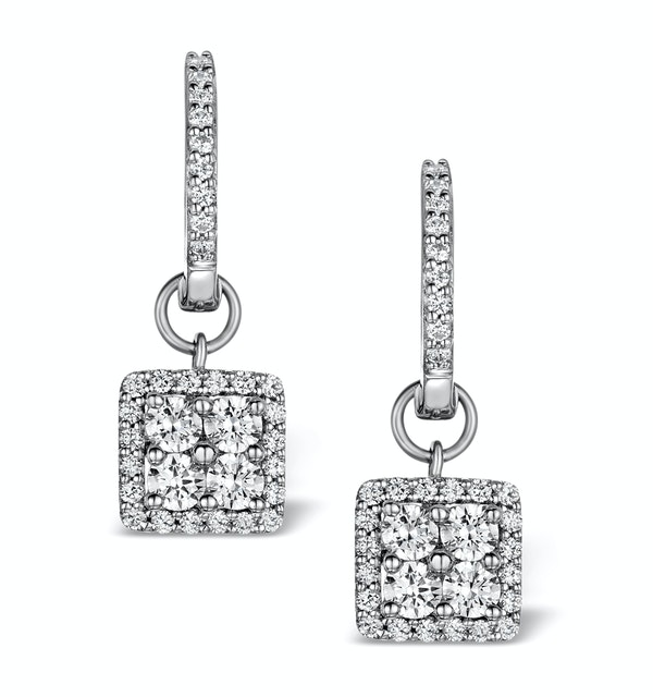 Halo Diamond Drop Earrings - Messina - 1.29ct - in 18K White Gold - image 1