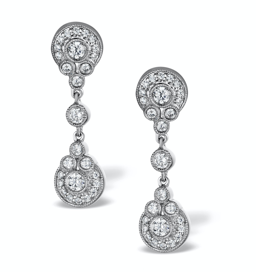 Vintage Diamond Drop Earrings - Vittoria - 0.80ct - in 18K White Gold