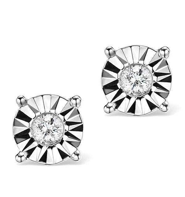 Diamond Stud Earrings 0.10ct H/Si in 18K White Gold - P3479 - image 1