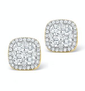 DIAMOND EARRINGS CARRE 1.25CT H/SI IN 18K GOLD - P3482