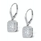 Diamond Halo Princess Cut Drop Earrings 1.75ct 18K White Gold - P3483W - image 2