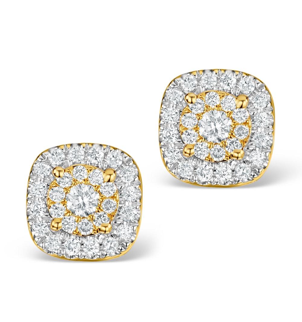 Diamond Halo Earrings 0.60ct H/Si in 18K Gold - P3484