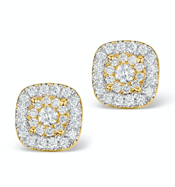 Diamond Halo Earrings 0.60ct H/Si in 18K Gold - P3484 - image 1