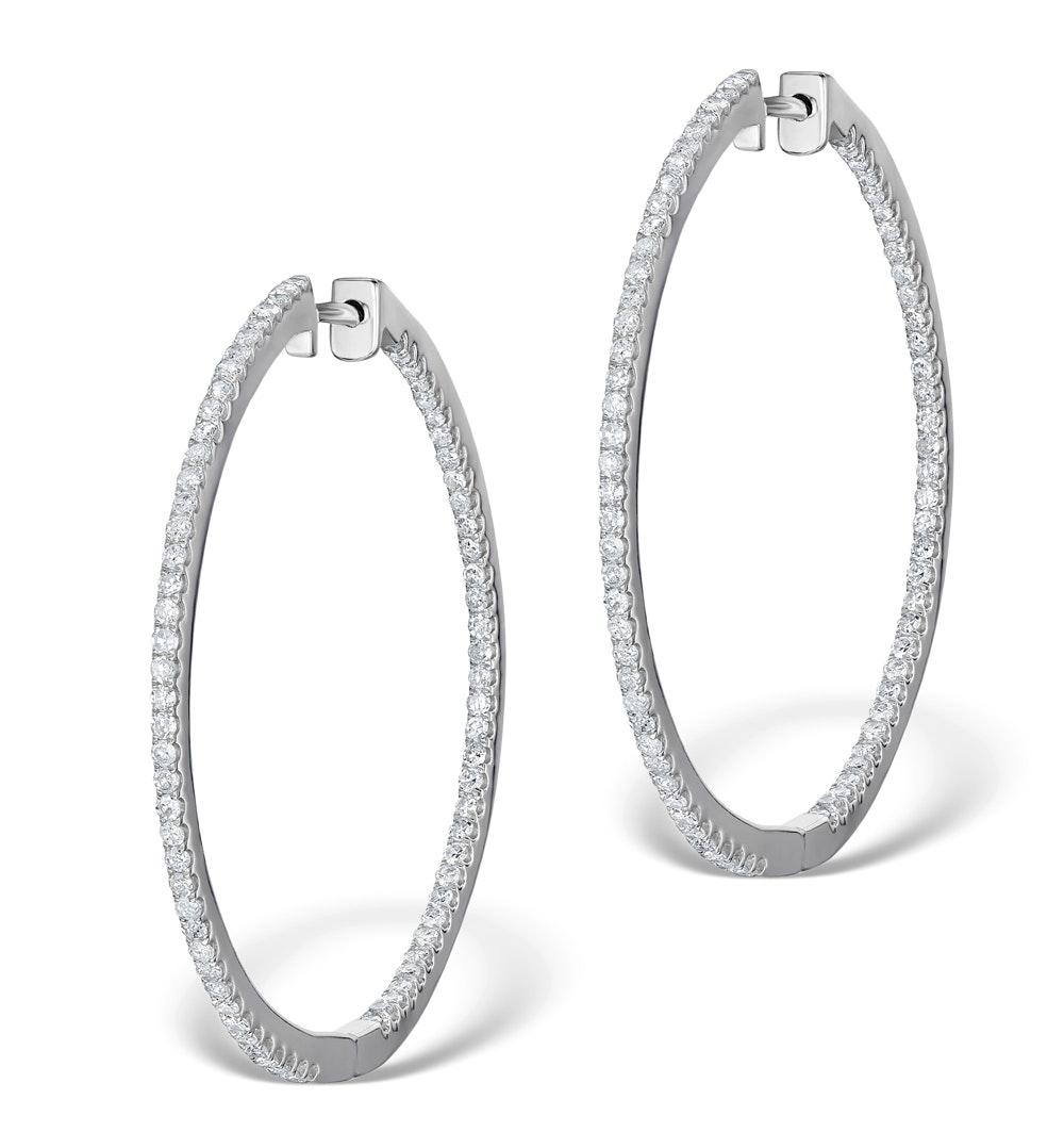 Diamond Hoop Earrings 2ct H/Si in 18K White Gold - P3487Y