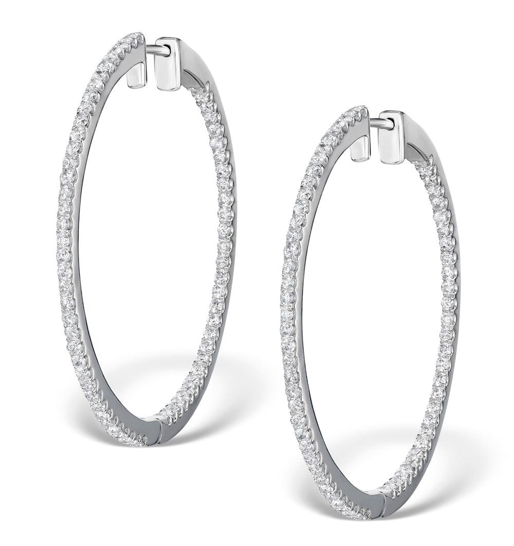 Diamond Hoop Earrings 1.50ct H/Si in 18K White Gold - P3488Y