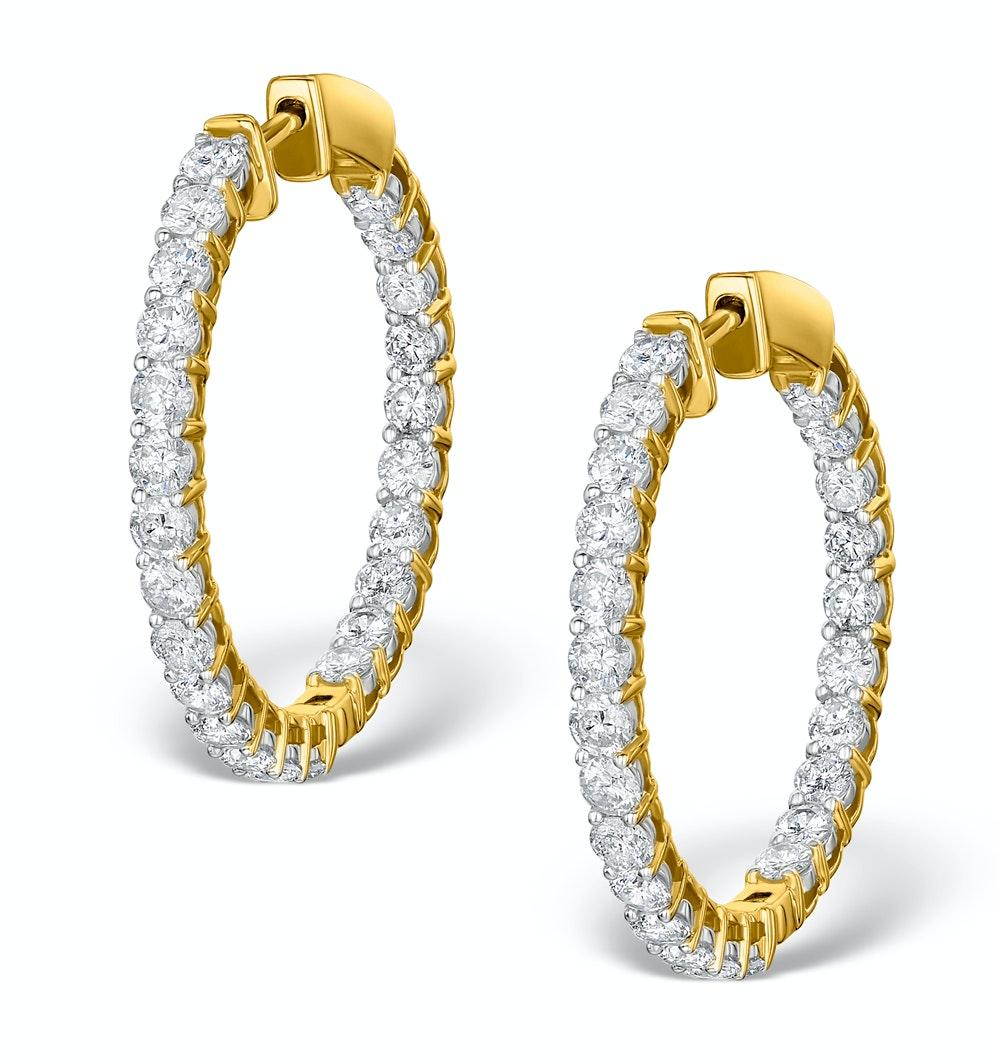 Diamond Hoop Earrings 4ct H/Si in 18K Gold - P3481