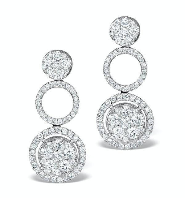 Athena Diamond Drop Earrings Multi Wear 1.24ct 18K White Gold - P3494 - image 1