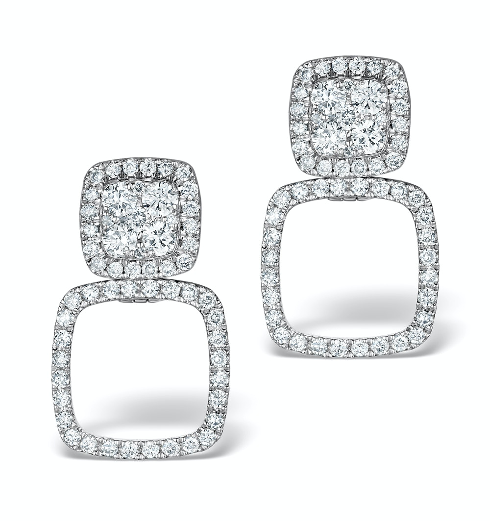 Athena Diamond Drop Earrings Multi Wear 0.96ct 18K White Gold - P3495