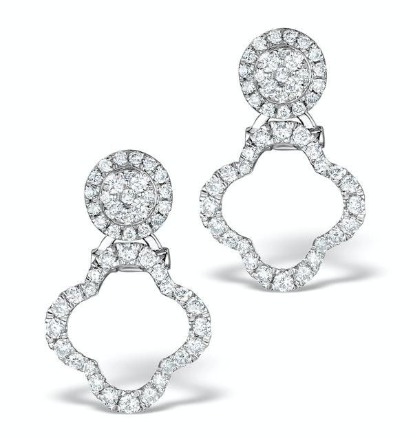 Athena Diamond Drop Earrings Multi Wear 0.71ct 18K White Gold - P3497 - image 1