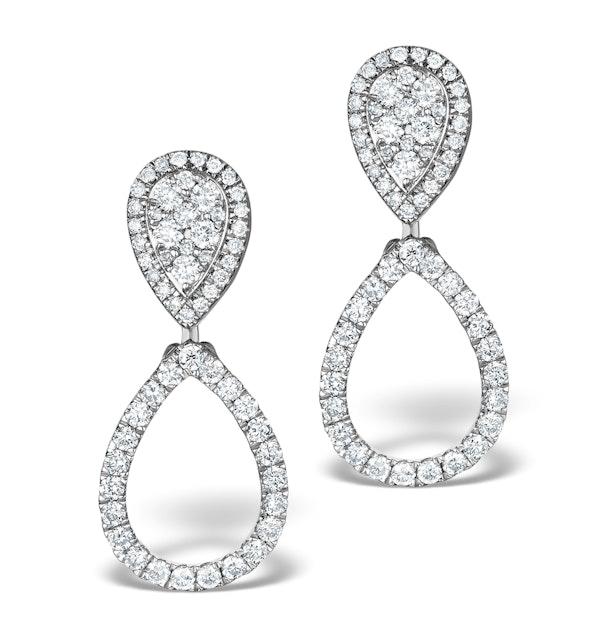 Athena Diamond Drop Earrings Multi Wear 0.90ct 18K White Gold - P3498 - image 1