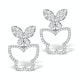 Athena Diamond Drop Butterfly Earrings Multi Wear 1.09ct 18KW Gold - image 1