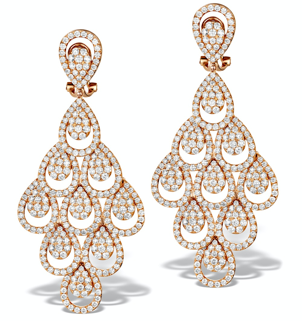 Diamond Halo Pyrus Chandelier Earrings 9.40ct in 18K Rose Gold P3490