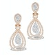 Diamond Halo Drop Earrings 6.66ct in 18K Rose Gold P3491 - image 1