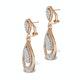 Diamond Halo Drop Earrings 6.66ct in 18K Rose Gold P3491 - image 2