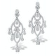 Diamond Pyrus Drop Chandelier Earrings 5ct in 18K White Gold P3402 - image 1