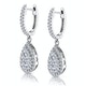 Diamond Pear Cluster Earrings Pave 1.5ct Set in 18K White Gold - image 3