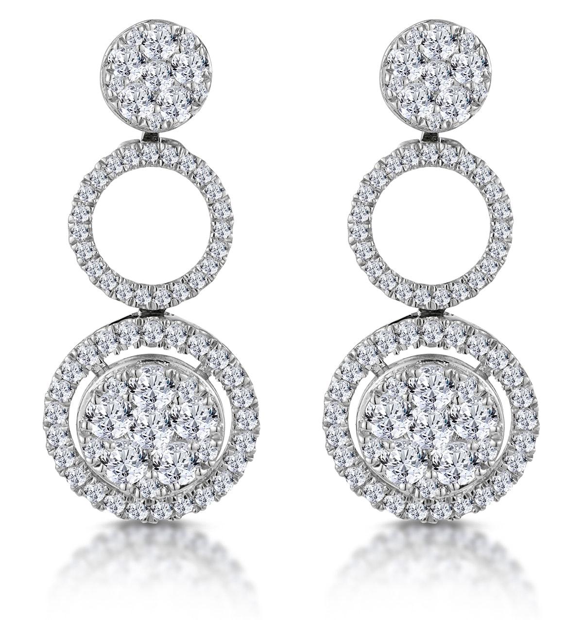 Athena Diamond Circle Multi Wear Earrings 1.3ct Set in 18K White Gold