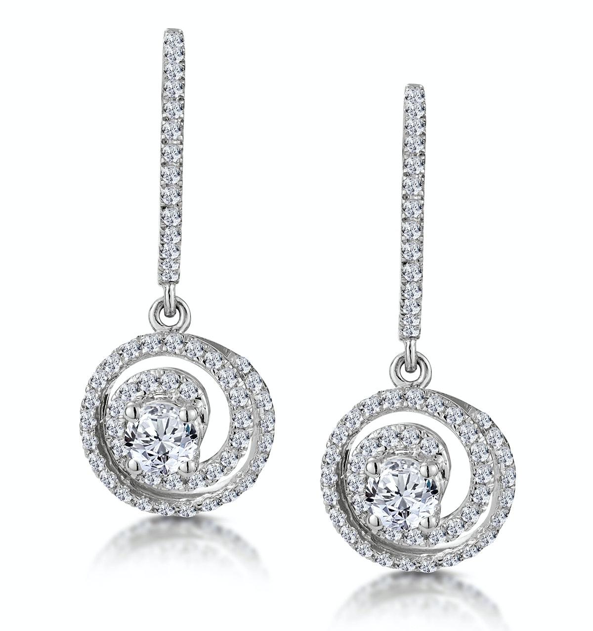 Diamond Swirl Drop Earrings 0.65ct Set in 18K White Gold