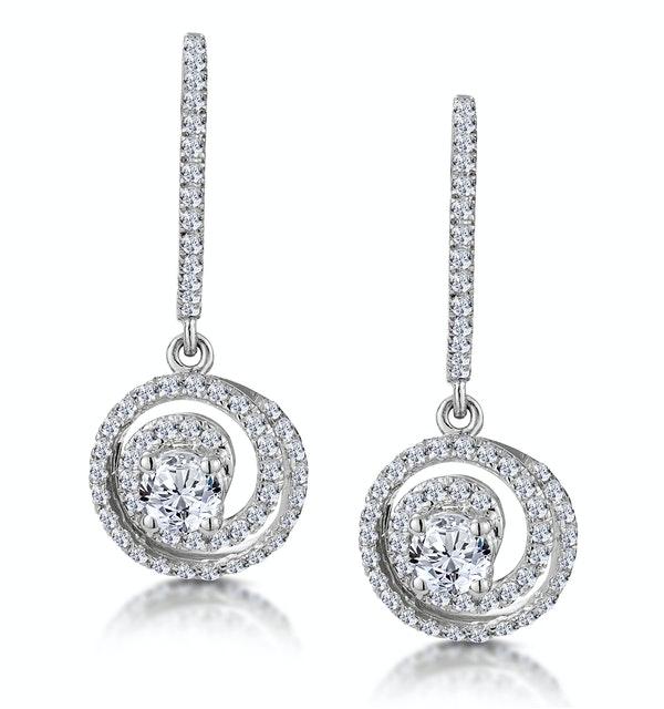 Diamond Swirl Drop Earrings 0.65ct Set in 18K White Gold - image 1