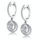 Diamond Swirl Drop Earrings 0.65ct Set in 18K White Gold - image 3