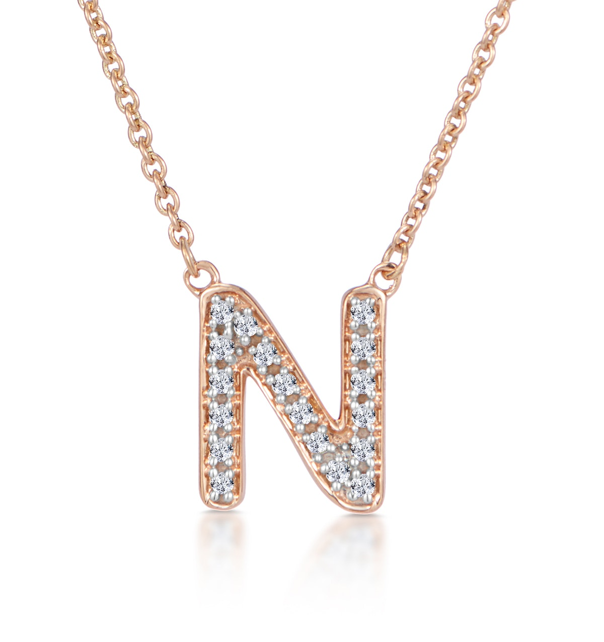Initial 'N' Necklace Diamond Encrusted Pave Set in 9K Rose Gold