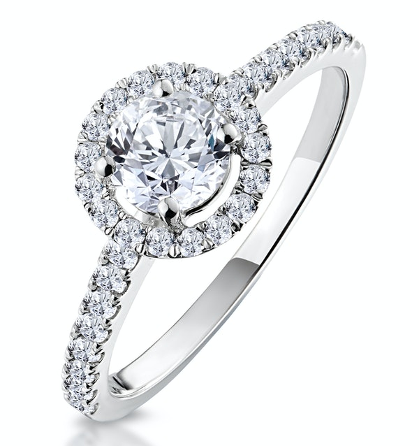 Ella Halo Diamond Engagement Ring 0.86ct H/SI1 Quality 18K White Gold - image 1