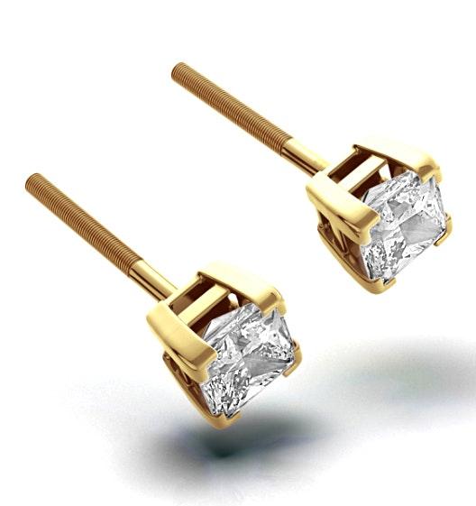 18K Gold Princess Diamond Earrings - 1CT - G/VS - 4.8mm
