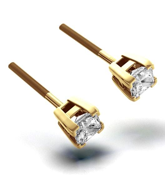 18K Gold Princess Diamond Earrings - 0.30CT - H/SI - 3mm