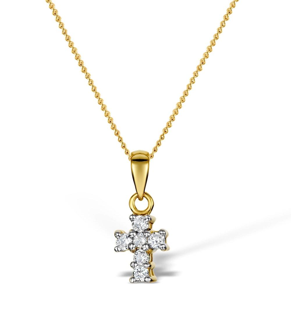 Diamond 0.10ct 18K Gold Cross Pendant - RTC-R3284