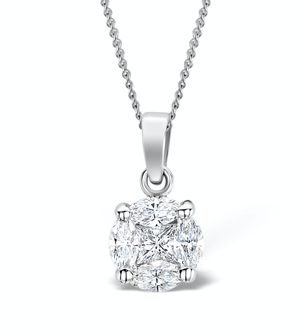 Galileo 1.00ct Look Diamond 0.41ct 18K White Gold Solitaire Necklace