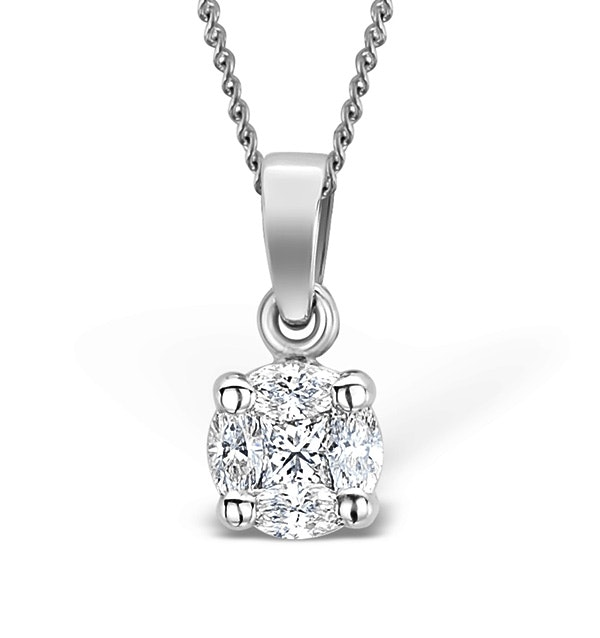 Galileo 0.50ct Look Diamond 0.18ct 18K White Gold Solitaire Necklace