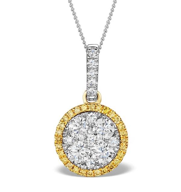 18K White Gold ALESSIA 1.20ct Diamond and Yellow Diamond HALO Pendant