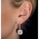 Diamond Halo Princess Cut Drop Earrings 1.75ct 18K White Gold - P3483W - image 4
